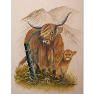 print of highland cow and calf