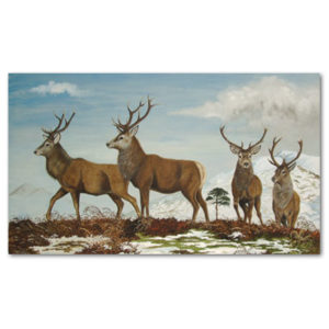 print of stags in winter