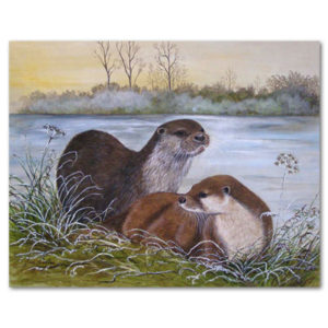 print of winter otters