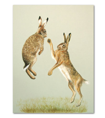 print of boxing hares
