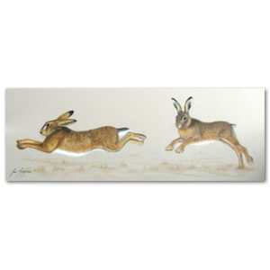 print of running hares