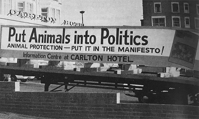 1978 – 'Putting Animals Into Politics' campaign run by the General Election Co-ordinating Committee for Animal Protection (GECCAP)